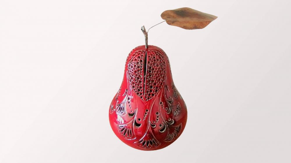 Lampe céramique Rouge