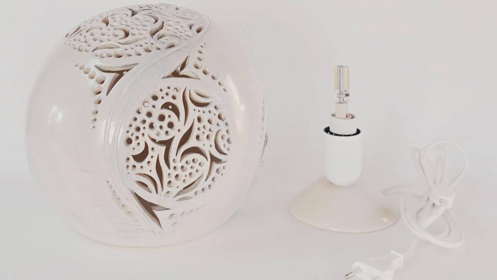 Lampe Céramique Sphère Blanche