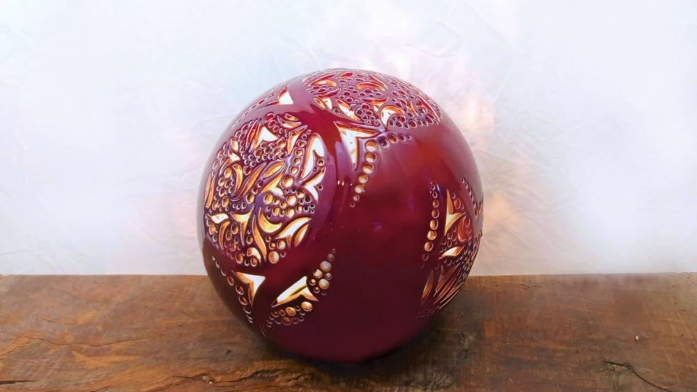 Lampe Céramique - Sphère rouge