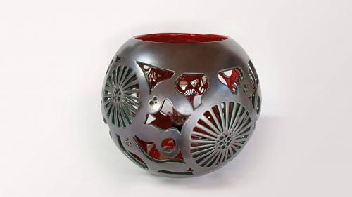 Lampe céramique - Fleur Marine Rouge