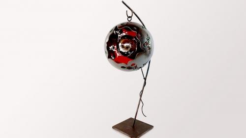 Lampe céramique sur pied Eclosion Rouge